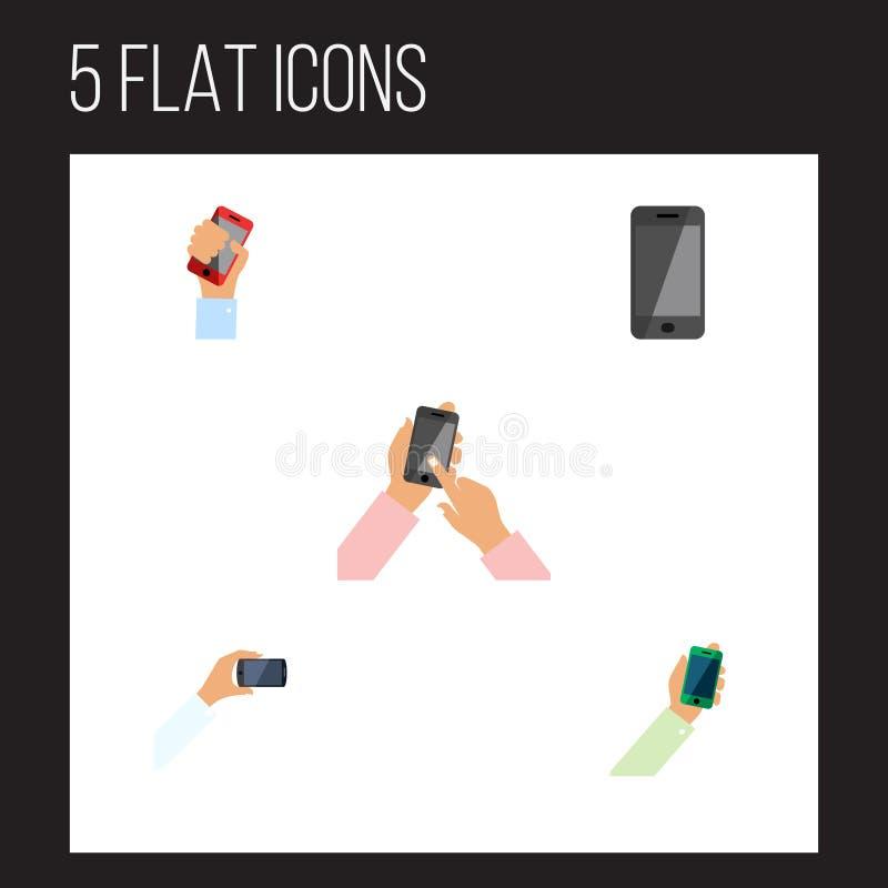 L'ensemble plat d'écran tactile d'icône de Smartphone, gardent le téléphone, le téléphone et d'autres objets de vecteur Inclut ég illustration stock