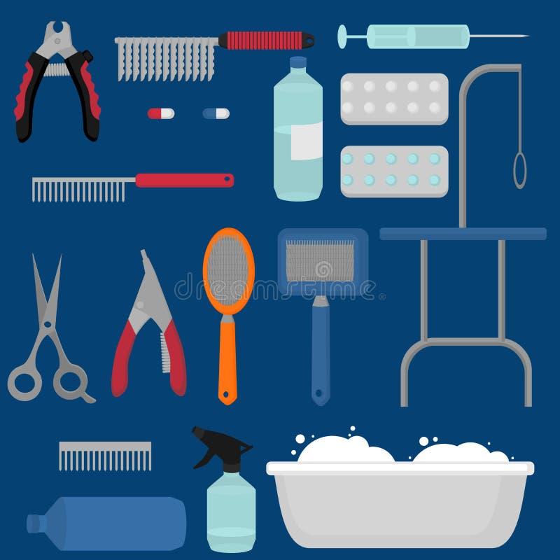 L'ensemble plat d'équipement de salon de toilettage, coupe de cheveux de chien usine des icônes Collection de groomer de chienchi illustration stock