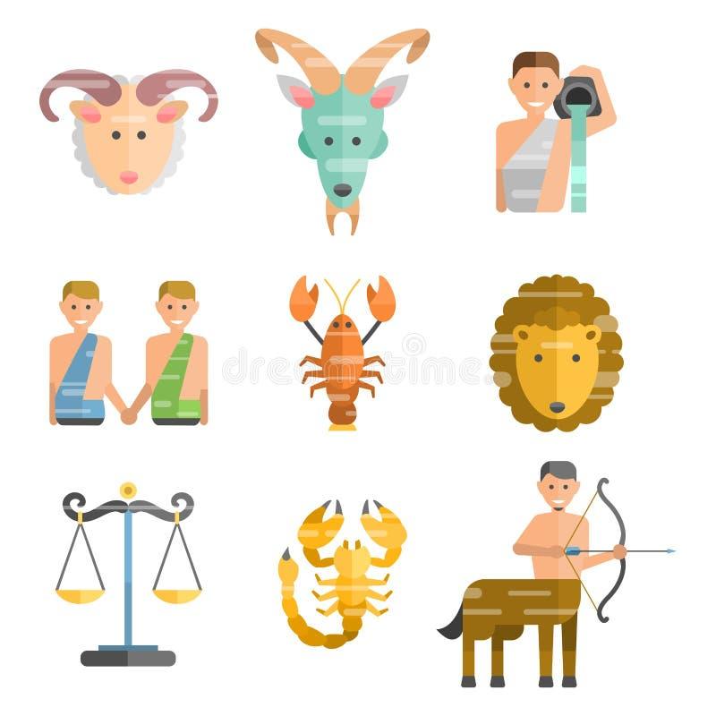 L'ensemble plat de signes de zodiaque de symboles d'horoscope tiennent le premier rôle le chiffre ascendant vecteur d'astrologie  illustration stock