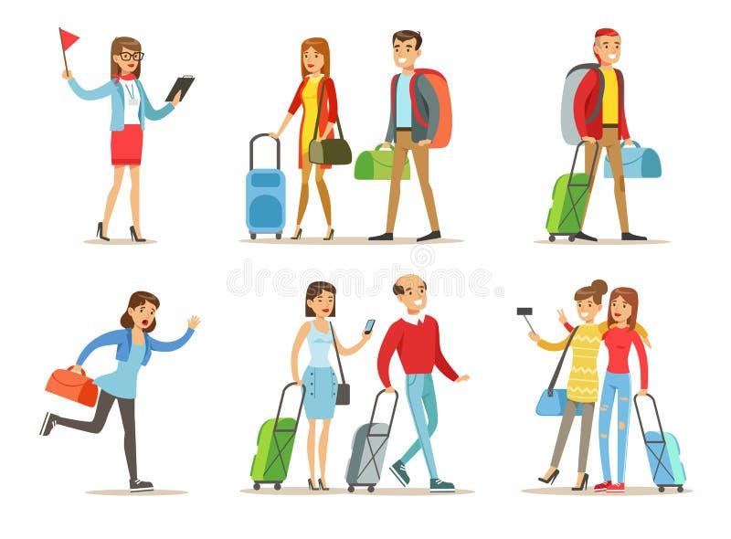 L'ensemble plat de vecteur de personnes avec le voyage met en sac Guide touristique, ajouter au bagage, amies faisant le selfie,  illustration stock