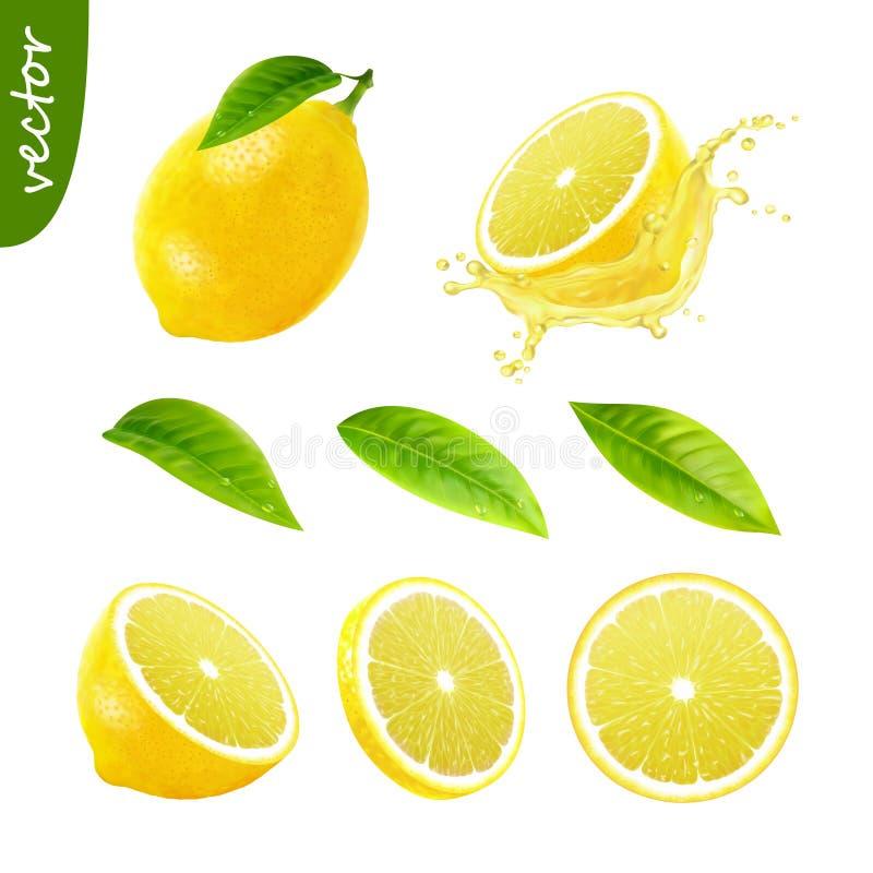 l'ensemble réaliste du vecteur 3d de citron entier d'éléments avec la feuille, citron coupé en tranches, jus de citron d'éclabous illustration stock