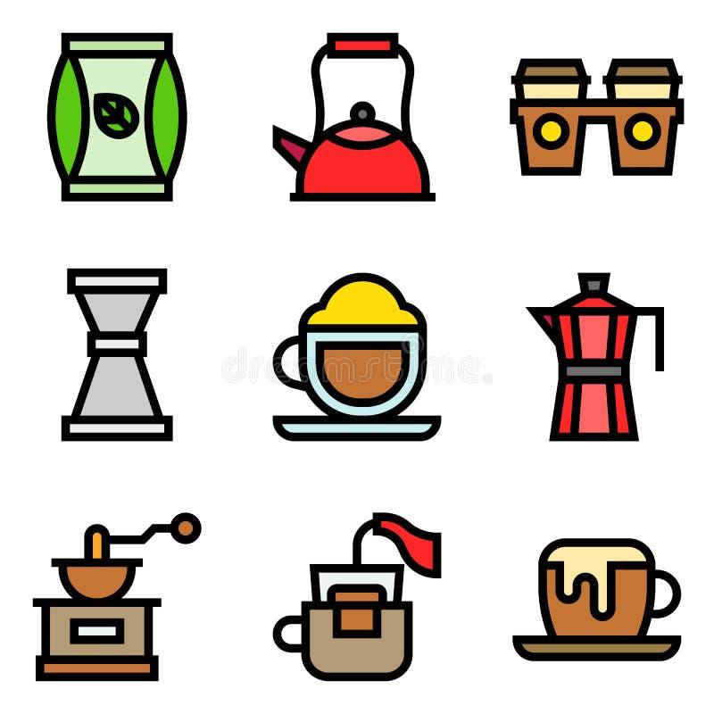 L'ensemble relatif d'icône de vecteur de café, a rempli étable illustration stock