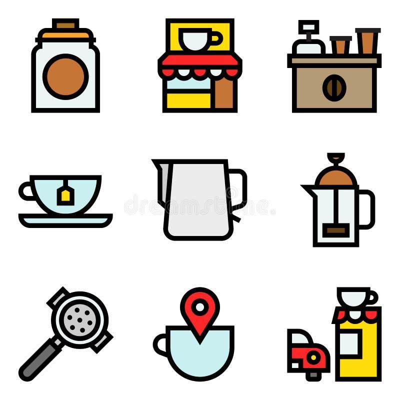 L'ensemble relatif d'ic?ne de vecteur de caf?, a rempli ?table illustration de vecteur