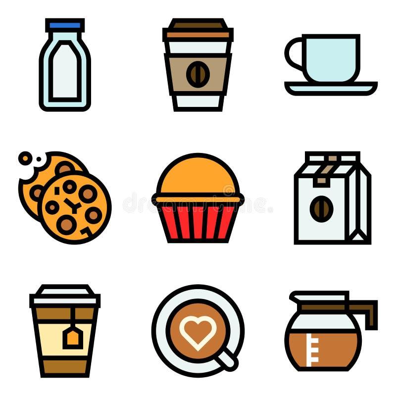 L'ensemble relatif d'ic?ne de vecteur de caf?, a rempli ?table illustration stock