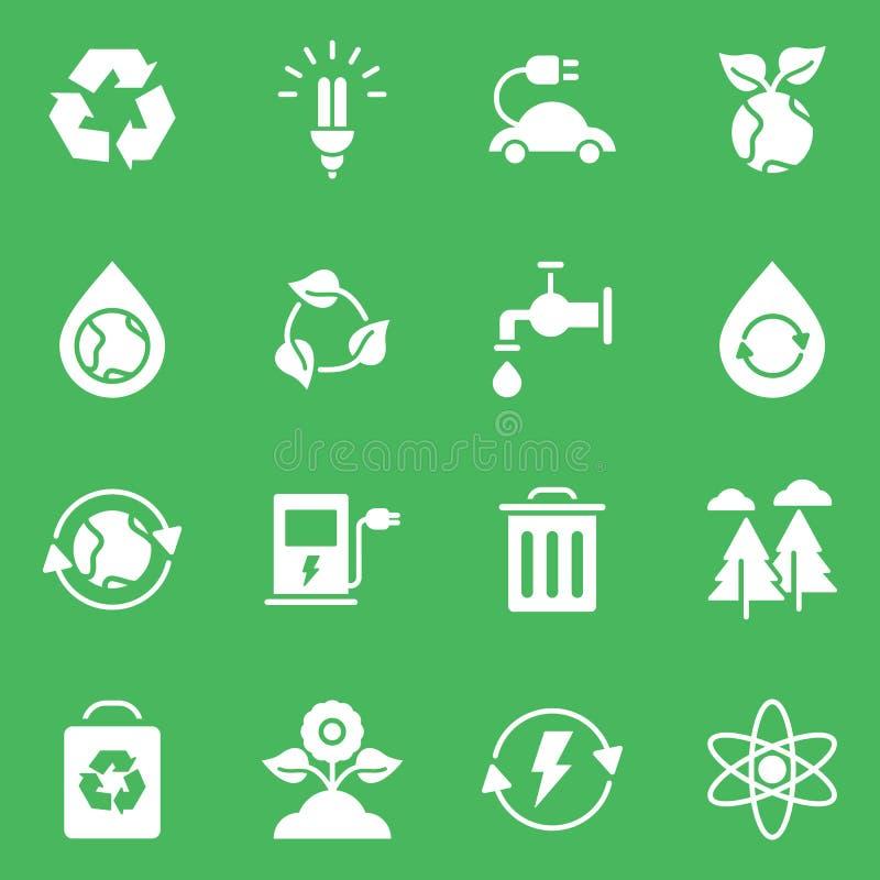 L'ensemble simple d'Eco a rapporté la ligne icônes de vecteur illustration stock