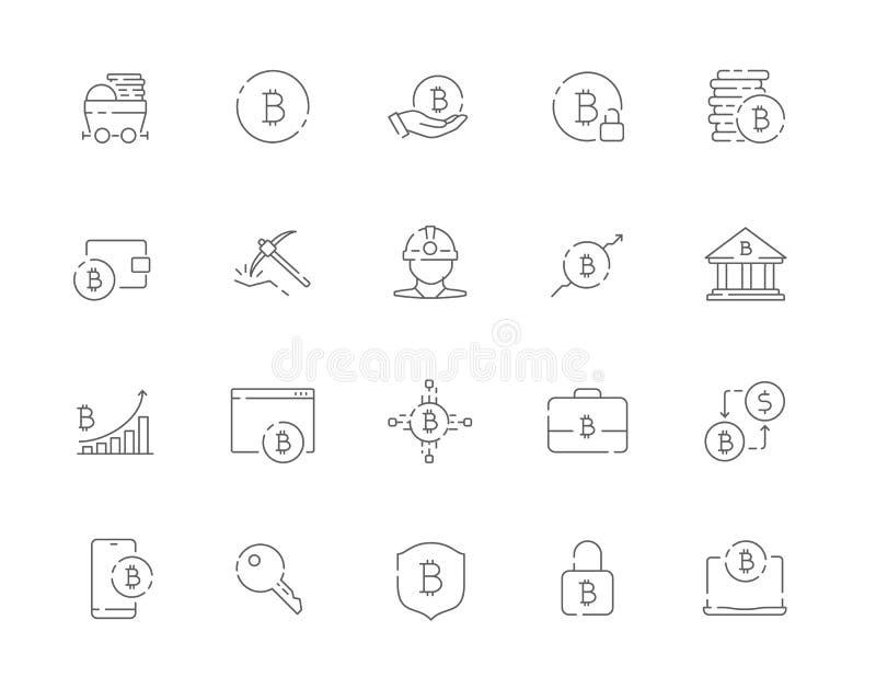 L'ensemble simple de Bitcoin a rapporté la ligne icônes de vecteur de Web illustration de vecteur