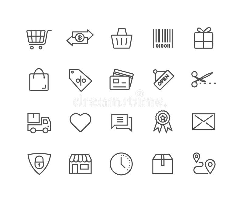 L'ensemble simple de vecteur en ligne de achat rayent légèrement des icônes illustration de vecteur