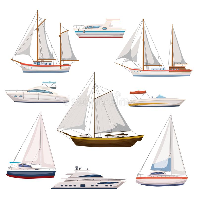 L'ensemble superbe de chariot de l'eau et le transport maritime dans la bande dessinée moderne conçoivent le style Bateau, bateau illustration libre de droits