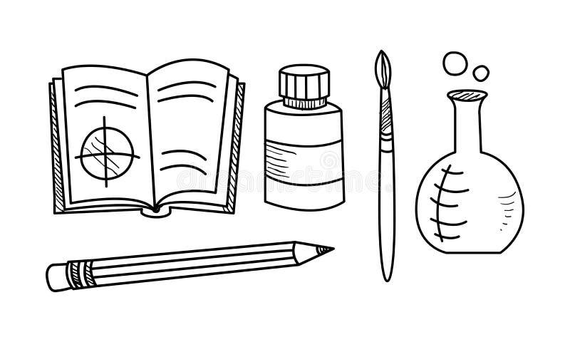L'ensemble tiré par la main d'icônes d'éducation, objets d'école dirigent l'illustration sur un fond blanc illustration stock
