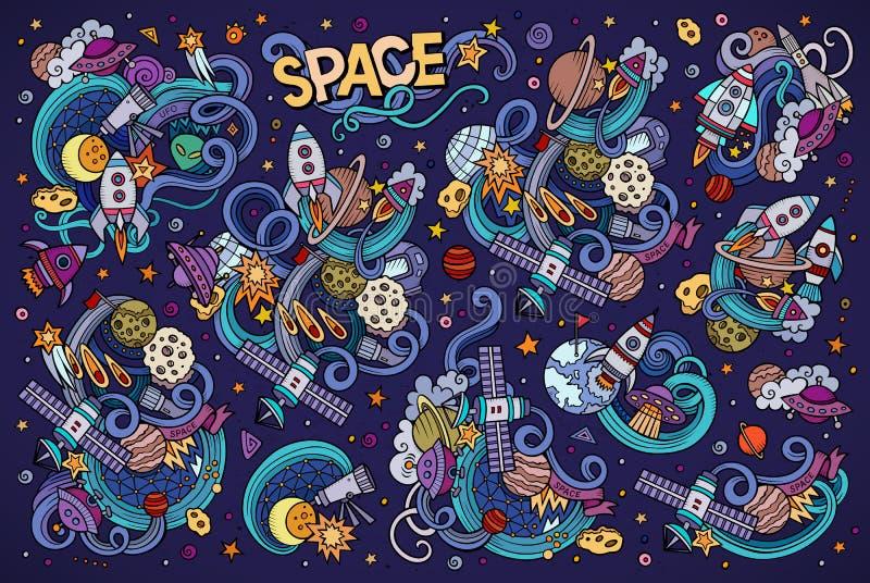 L'ensemble tiré par la main de bande dessinée de griffonnages de vecteur coloré de l'espace objecte illustration stock
