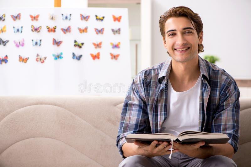 L'entomologo dello studente che studia le nuove specie di farfalle immagini stock