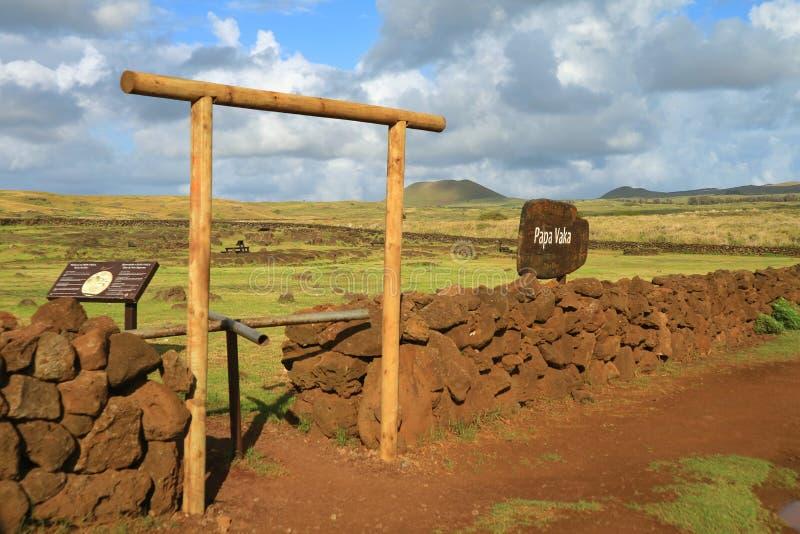 L'entrée à Papa Vaka Archaeological Site des pétroglyphes préhistoriques, île de Pâques, Chili photographie stock