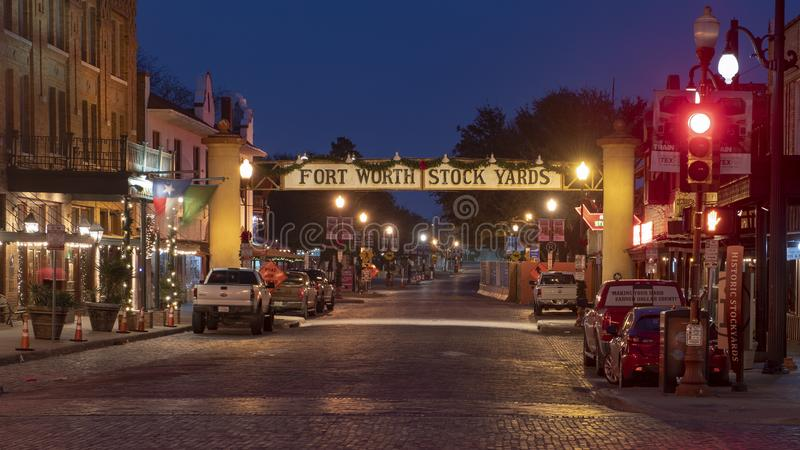 L'entrée aux yards courants historiques de Forth Worth, le Texas images stock