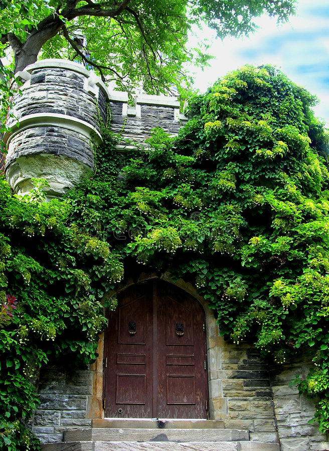 L'entrée cachée. photos stock