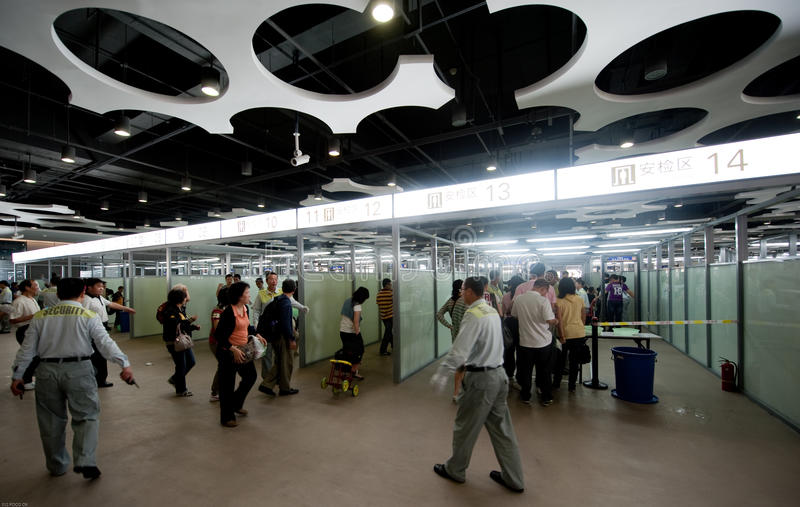 L'entrée de sécurité d'expo du monde, expo Changhaï 2010 Chine images stock