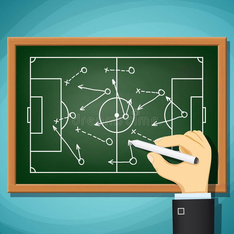 L'entraîneur dessine le jeu de la tactique dans le football Illus courant de bande dessinée de vecteur illustration de vecteur