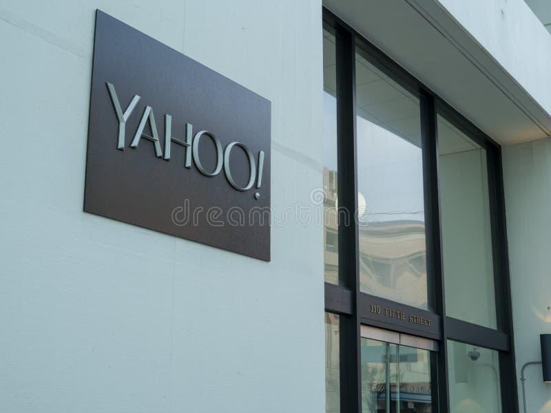 L'entrata ad Yahoo acquartiera la costruzione in San del centro Francisc fotografia stock