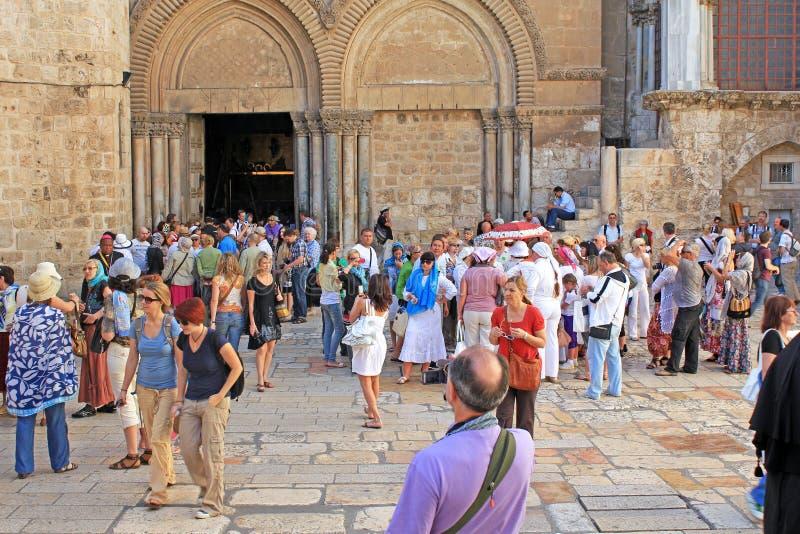 L'entrata al tempio del santo sotterra, Gerusalemme immagine stock libera da diritti