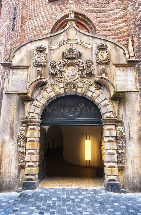 L'entrata alla torre rotonda a Copenhaghen fotografie stock libere da diritti