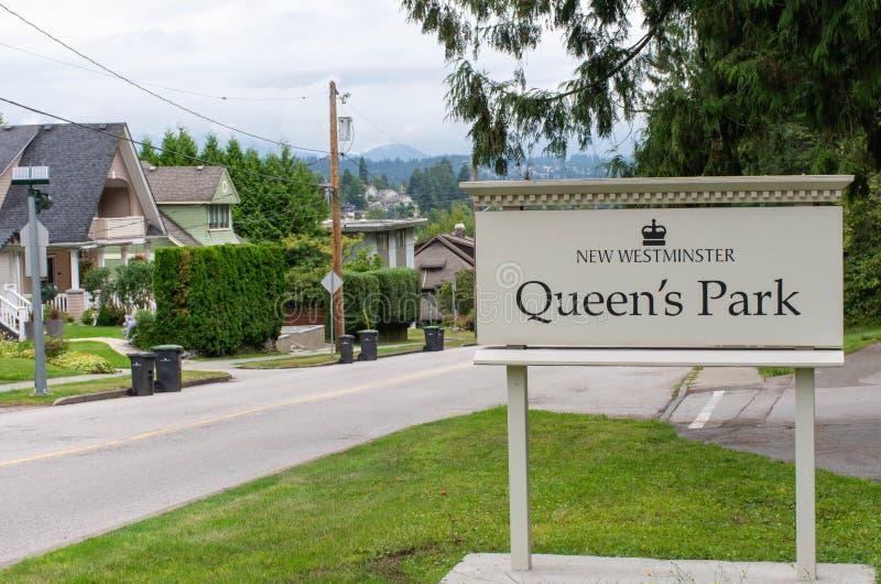 L'entrata del parco della regina firma dentro nuova Westminster, la Columbia Britannica, Canada fotografia stock libera da diritti