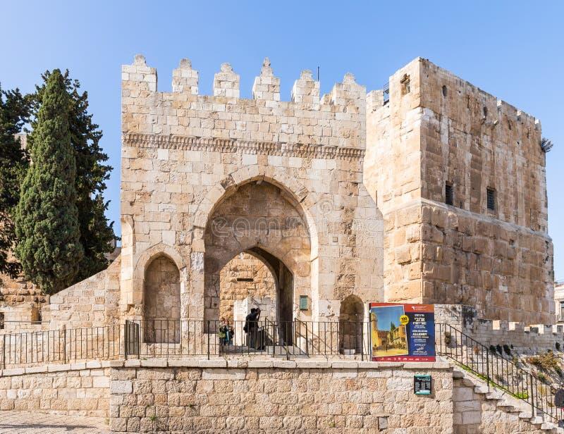 L'entrata principale alla torre di David vicino al portone di Giaffa nella vecchia città di Gerusalemme, Israele fotografia stock