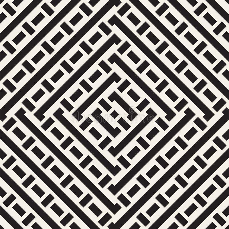 L'entrelacement raye Maze Lattice Texture monochrome ethnique Configuration noire et blanche sans joint de vecteur illustration libre de droits