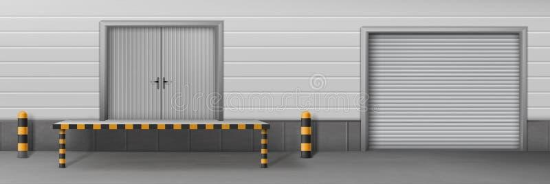 L'entrepôt d'affaires a clôturé le vecteur réaliste de portes illustration de vecteur