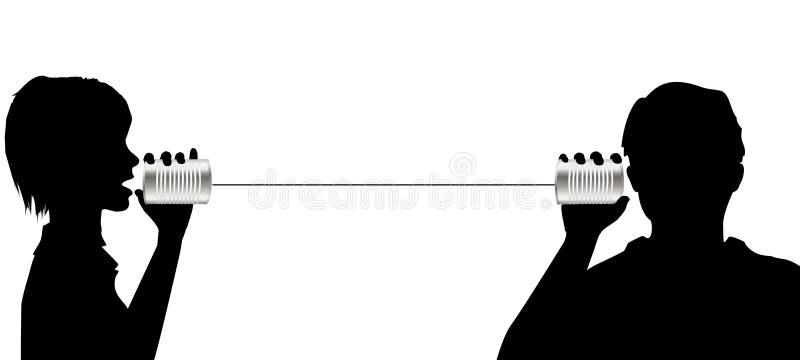 L'entretien de gens écoutent sur la transmission de téléphone de boîte en fer blanc illustration libre de droits