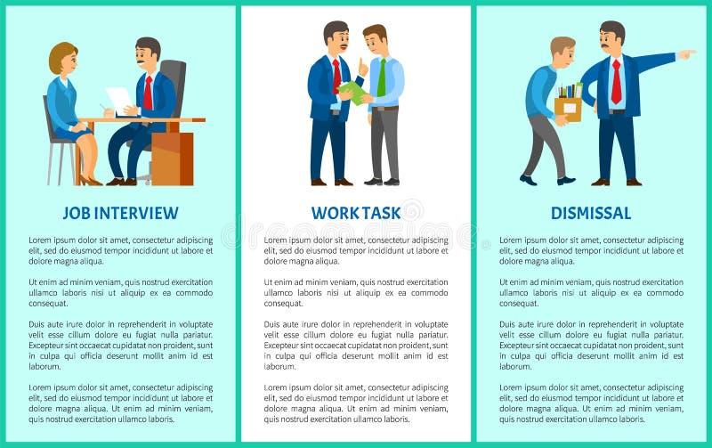 L'entrevue d'emploi, professionnel la tâche, affiche de vecteur de renvoi illustration de vecteur
