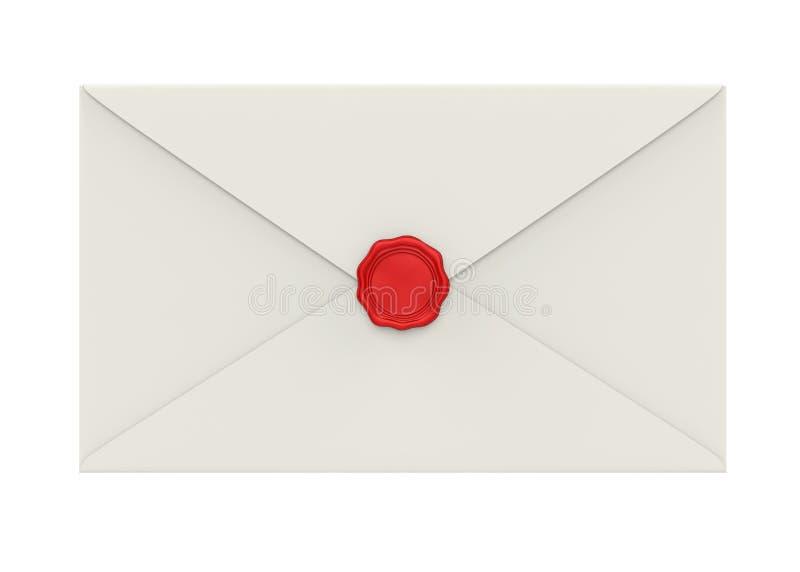 L'enveloppe avec le joint rouge de cire a isolé illustration de vecteur