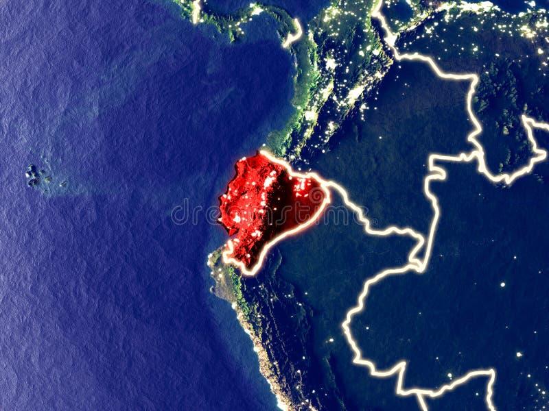 L'Equateur sur terre la nuit photographie stock libre de droits