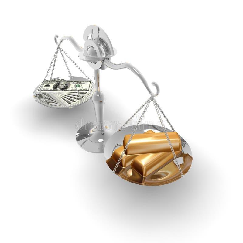 L'equilibrio è dollaro ed oro royalty illustrazione gratis