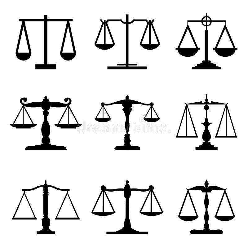 L'equilibrio meccanico d'annata riporta in scala correttamente il vettore uguale delle icone del giudice royalty illustrazione gratis