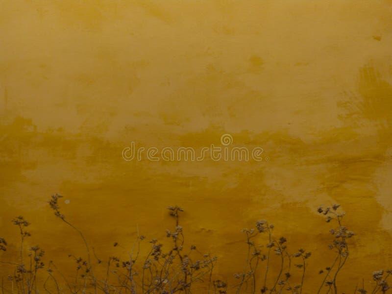 L'erba asciutta lascia il fondo di vecchio pavimento giallo fotografia stock