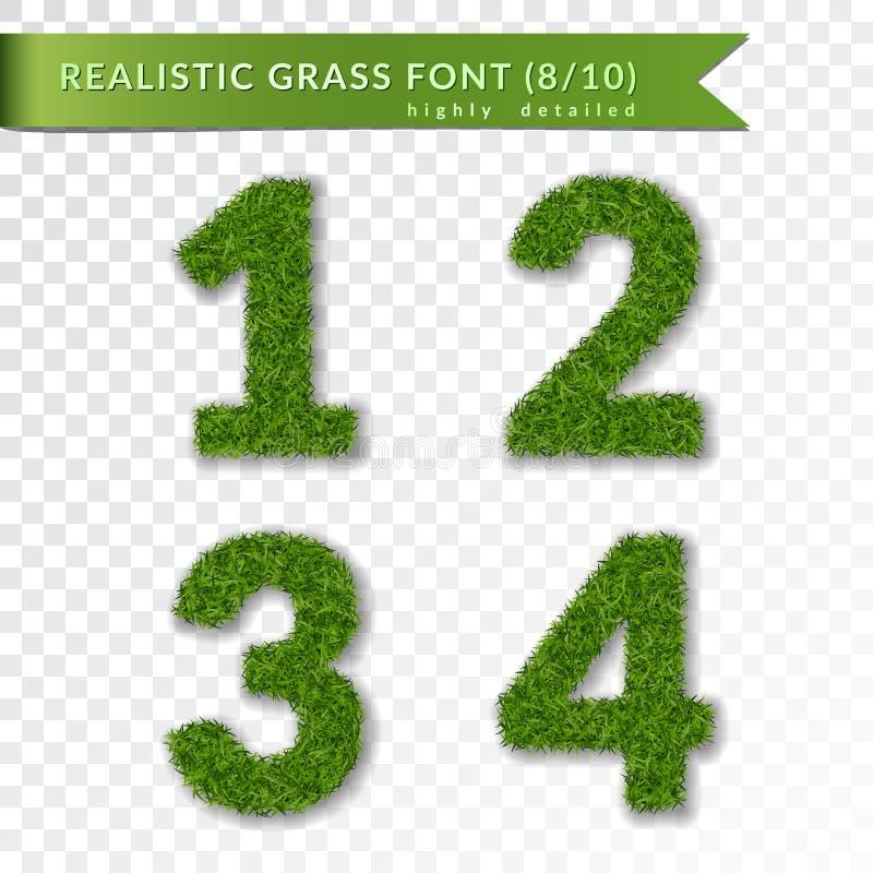 L'erba numera 1 2 3 4 Il verde numera uno, due, tre, quattro isolati su fondo trasparente bianco Erba verde, fresca illustrazione di stock