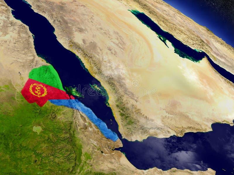 L'Eritrea con la bandiera incastonata su terra illustrazione vettoriale