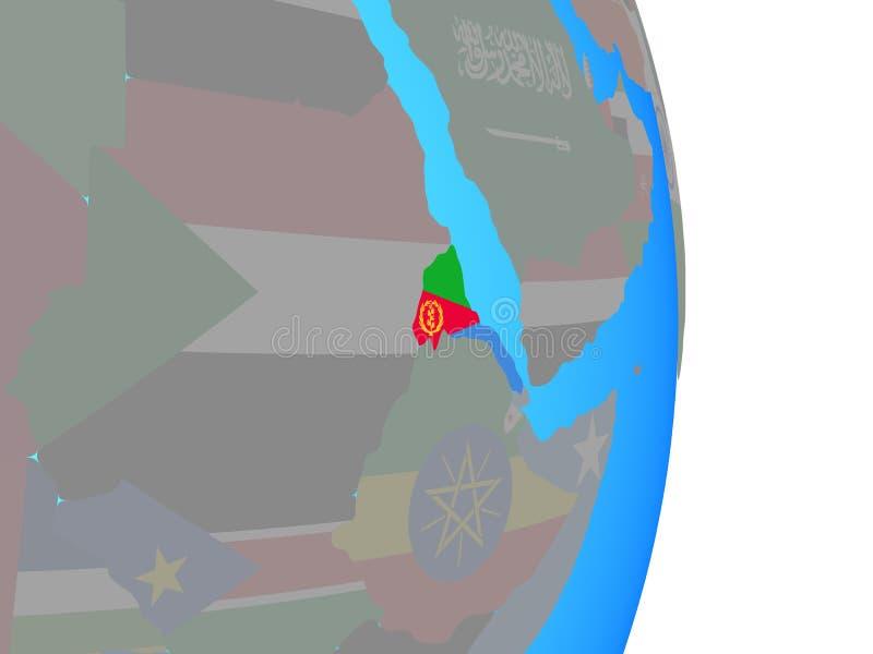 L'Eritrea con la bandiera sul globo illustrazione di stock