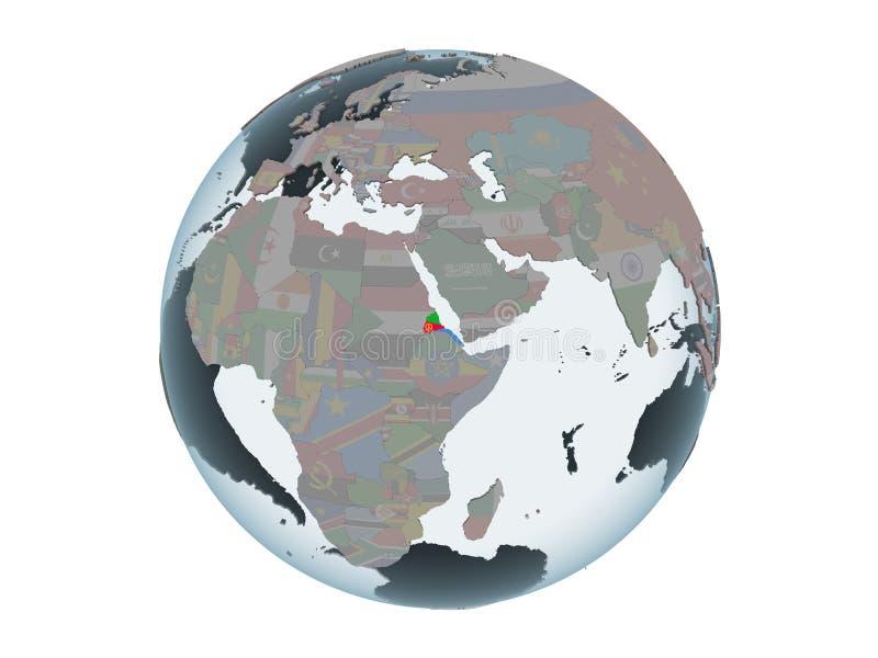 L'Eritrea con la bandiera sul globo isolato illustrazione vettoriale