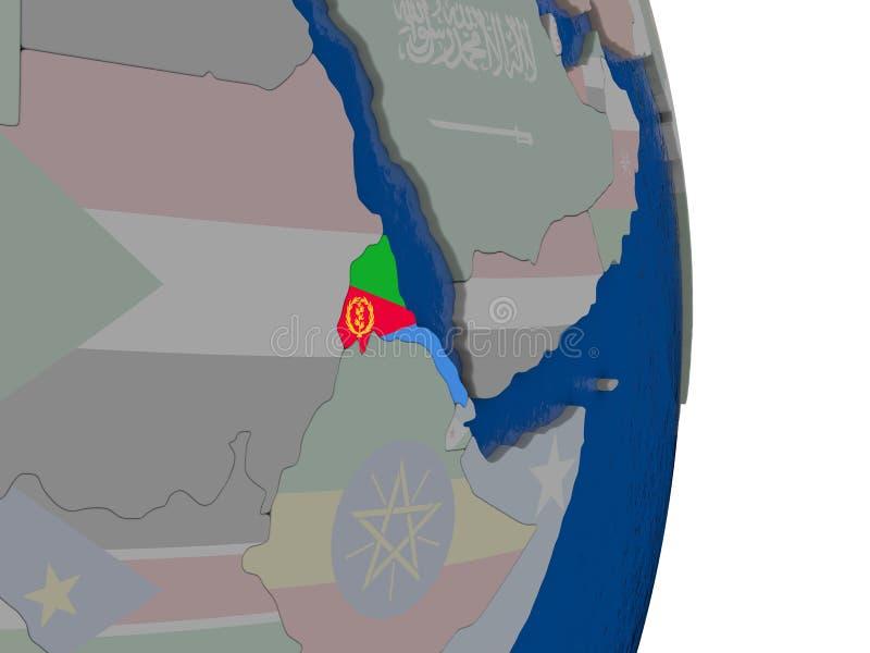 L'Eritrea con la sua bandiera illustrazione vettoriale