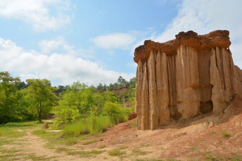 L'erosione del suolo di pioggia e di vento ha chiamato il Na Noi di Sao Din immagini stock