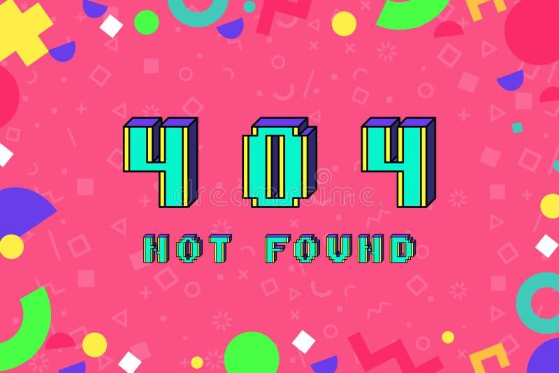 L'errore di vettore 404 non ha trovato la frase nello stile pungente di arte 8 del pixel royalty illustrazione gratis