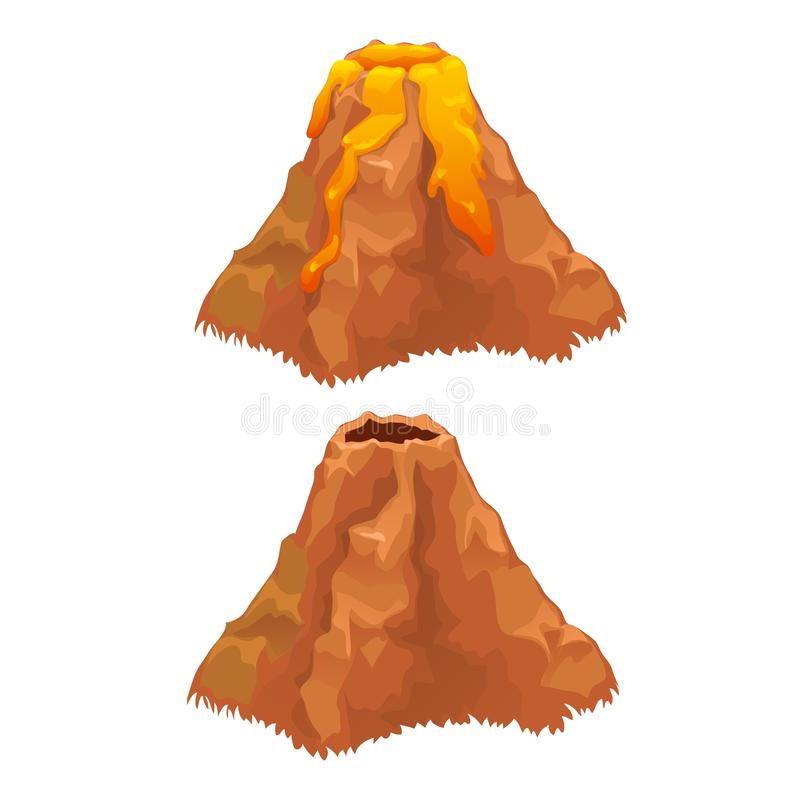 L'eruzione di un vulcano isolato su fondo bianco Illustrazione del primo piano del fumetto di vettore illustrazione vettoriale