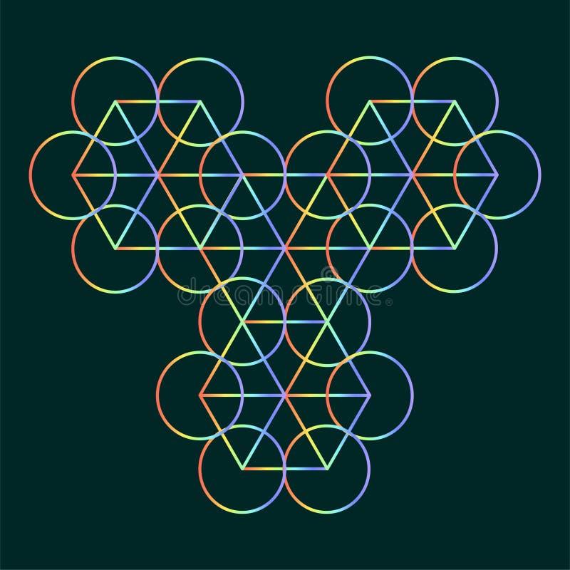 L'esagono ed i cerchi descrivono il modello, fondo sacro della geometria per l'alchemia, spiritualità, religione, filosofia, embl illustrazione vettoriale