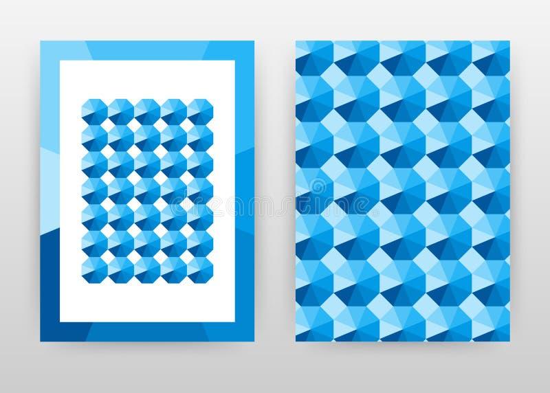 L'esagono geometrico blu modella la progettazione del fondo di affari per il rapporto annuale, l'opuscolo, l'aletta di filatoio,  illustrazione vettoriale