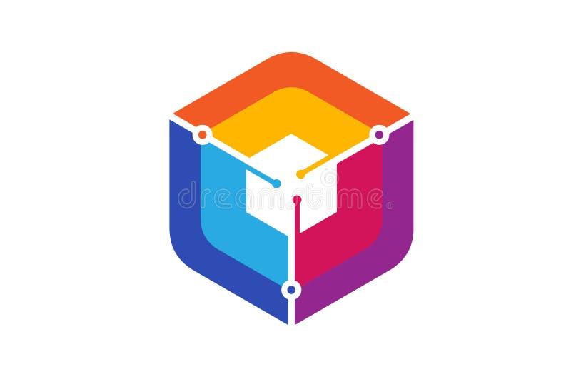 L'esagono variopinto fissa il logo quadrato di tecnologia di forma illustrazione di stock