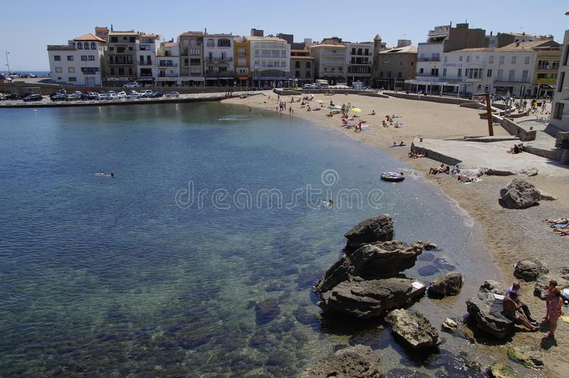 L'Escala -肋前缘Brava海岸的镇  库存图片