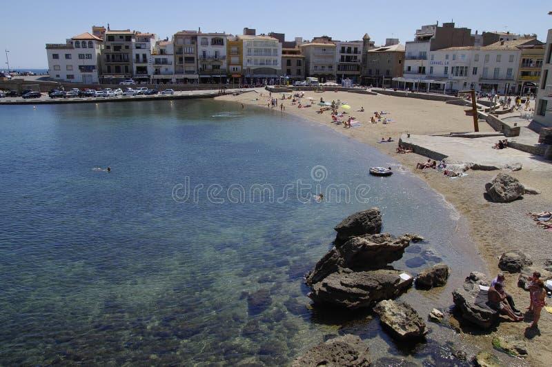 L'Escala - Stad op de kust van Costa Brava stock afbeelding