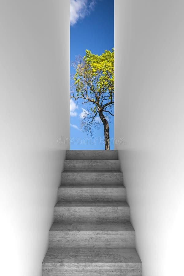 L'escalier concret monte, manière abstraite illustration libre de droits