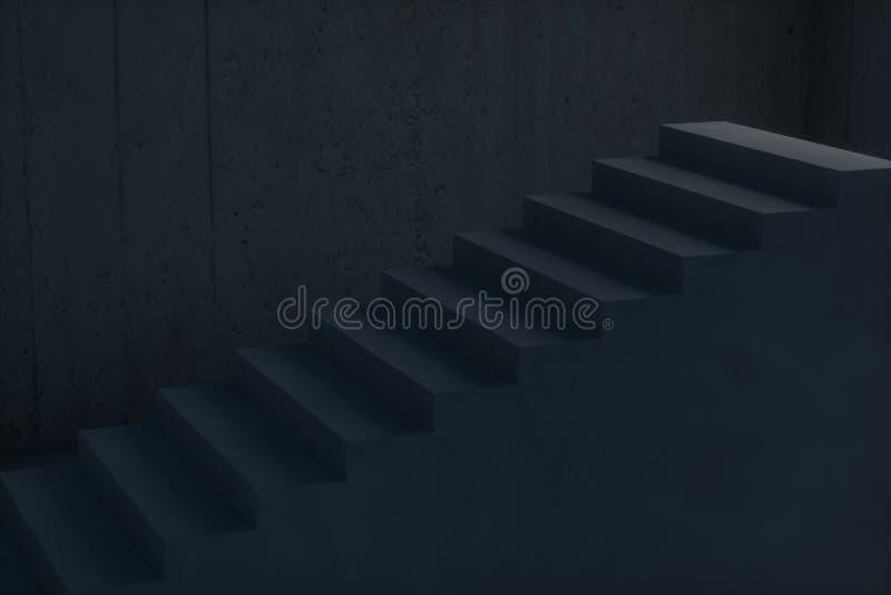 L'escalier dans le sous-sol foncé, rendu 3d illustration libre de droits