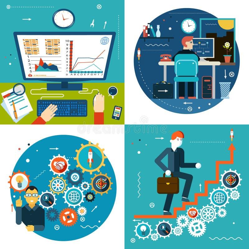 L'escalier de succès embraye des statistiques commerciales en ligne illustration de vecteur